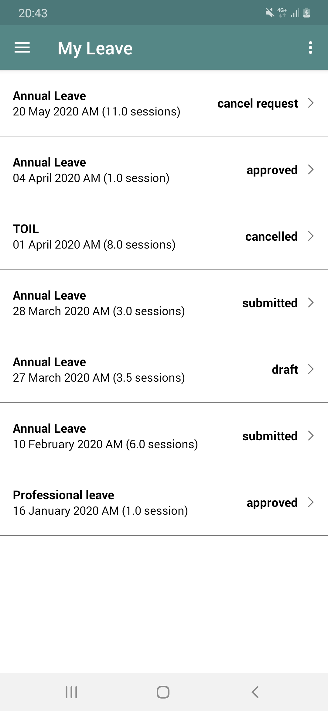 CLWRota Android: My Leave