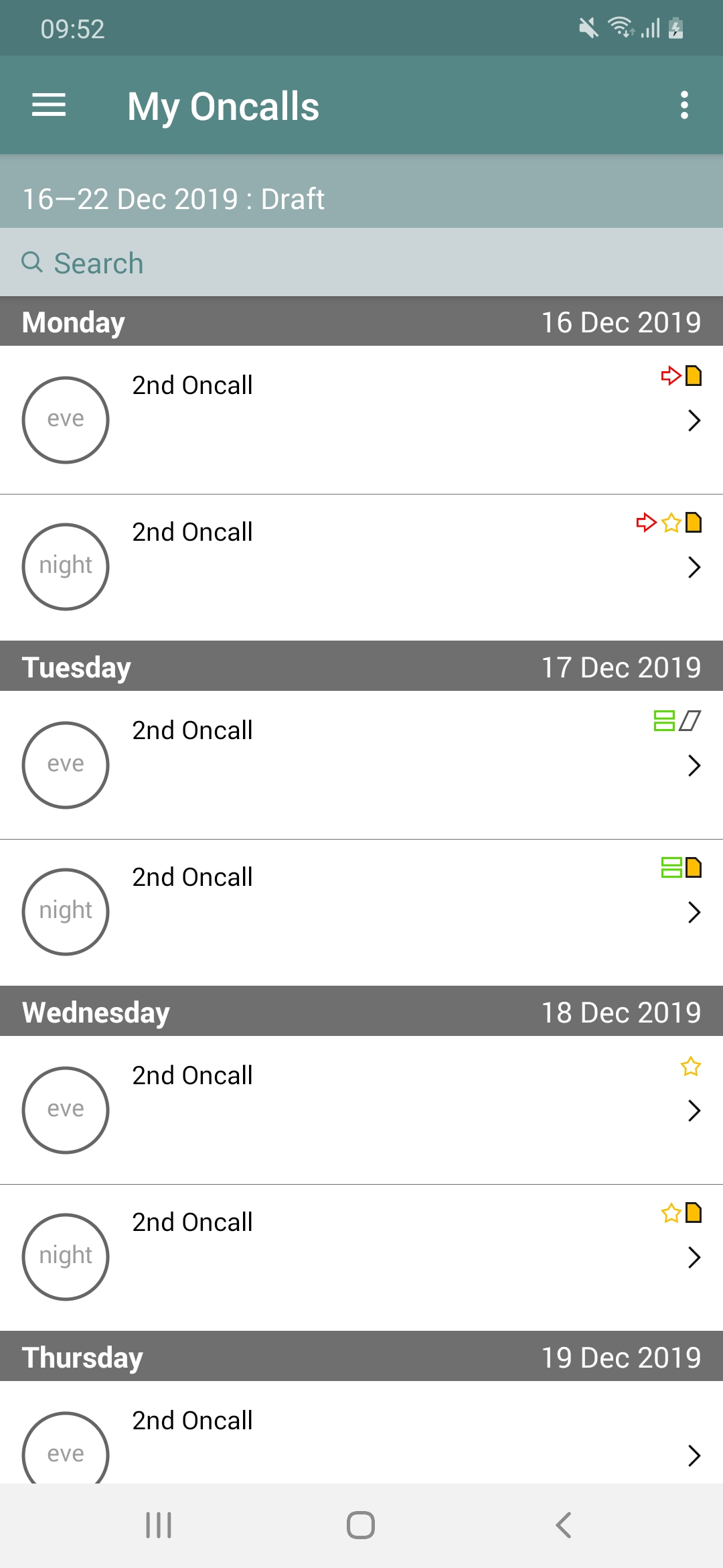 CLWRota Android: My Oncalls