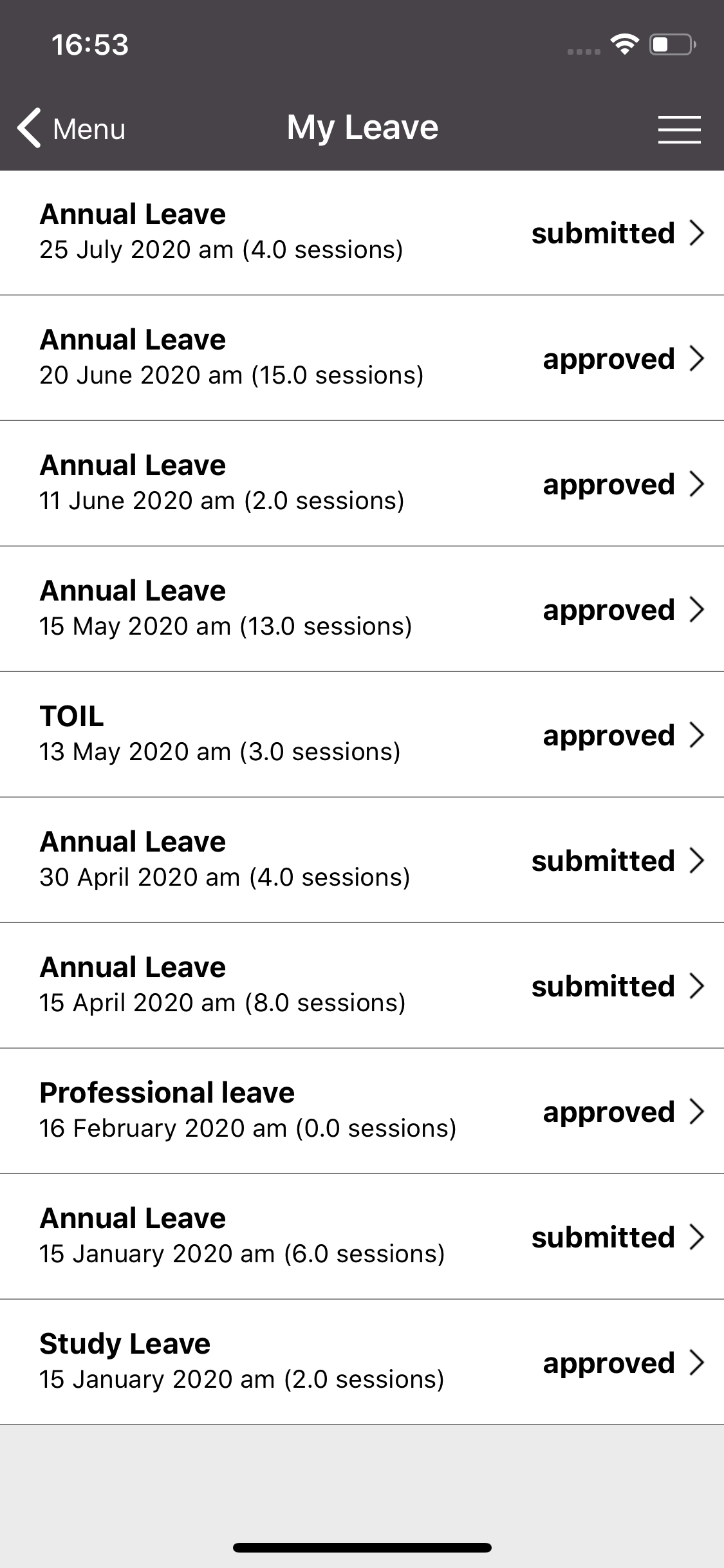 Medirota iOS: My Leave