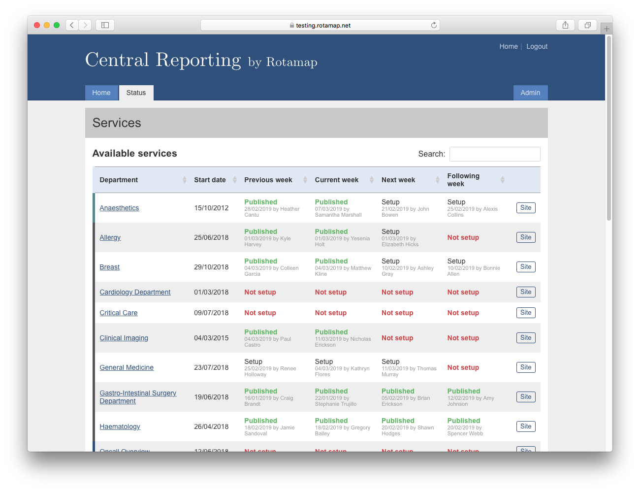 Central Reporting Status Page